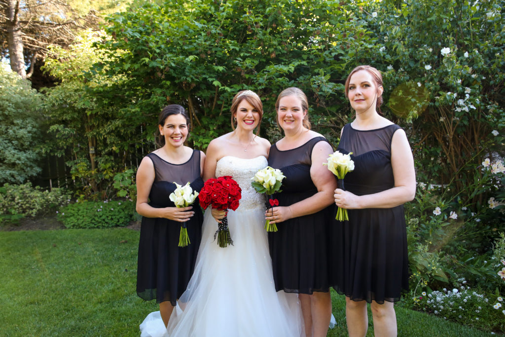 bride and bridesmaids wedding hair and makeup image 11